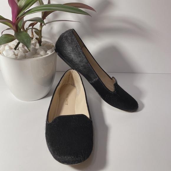 Nine West Black Fur Loafers